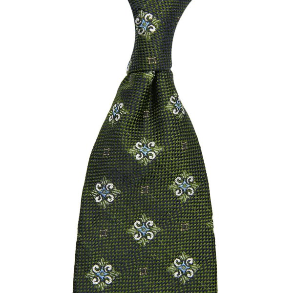 Floral Jacquard Silk Tie - Forest II - Hand-Rolled