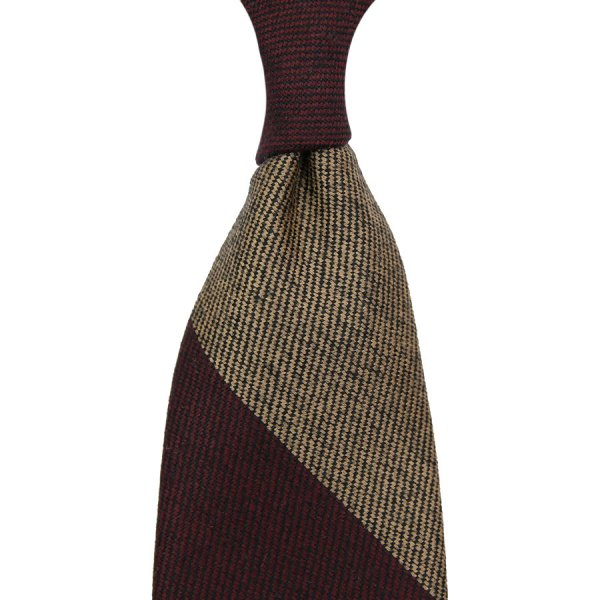 Block Stripe Wool Tie - Burgundy / Beige - Hand-Rolled