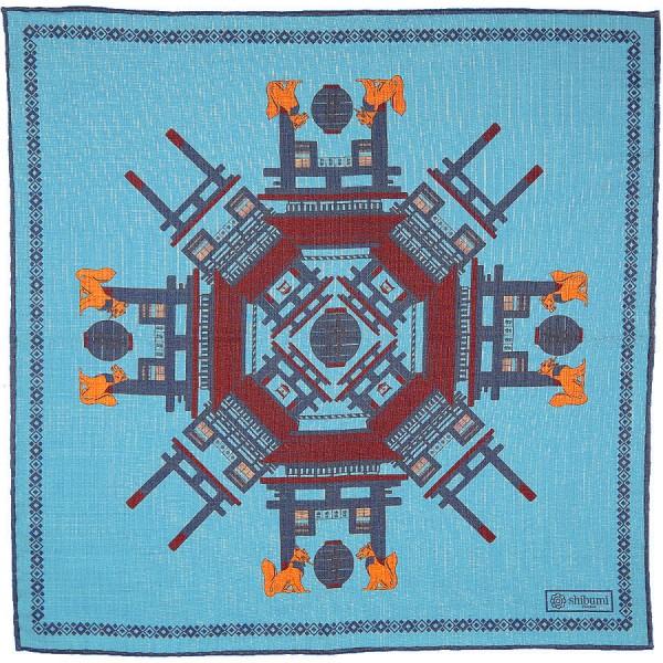 Temple Printed Wool / Silk Pocket Square - Light Blue - 40 x 40cm