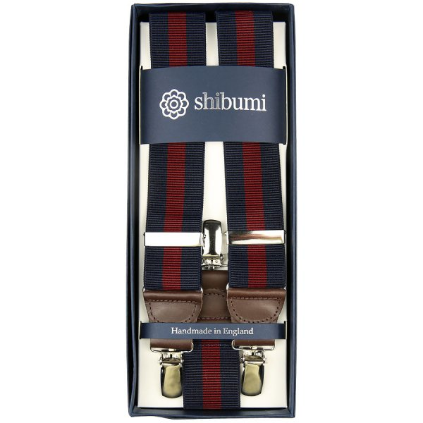 Elastic Braces With Clips - Navy / Burgundy