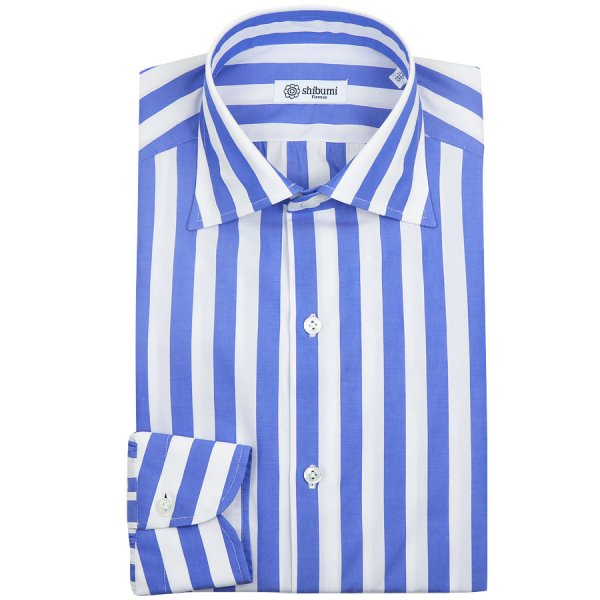 Poplin Semi Spread Shirt - White / Royal - Wide Stripe - Regular Fit