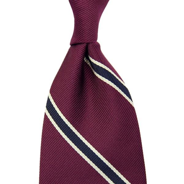 Repp Stripe Silk Tie - Berry / Midnight - Handrolled - 140cm