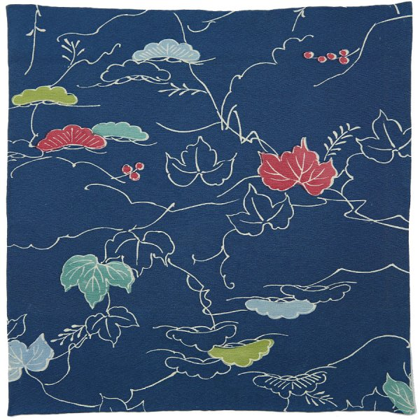 Vintage Kimono Silk Pocket Square - Navy - Handrolled