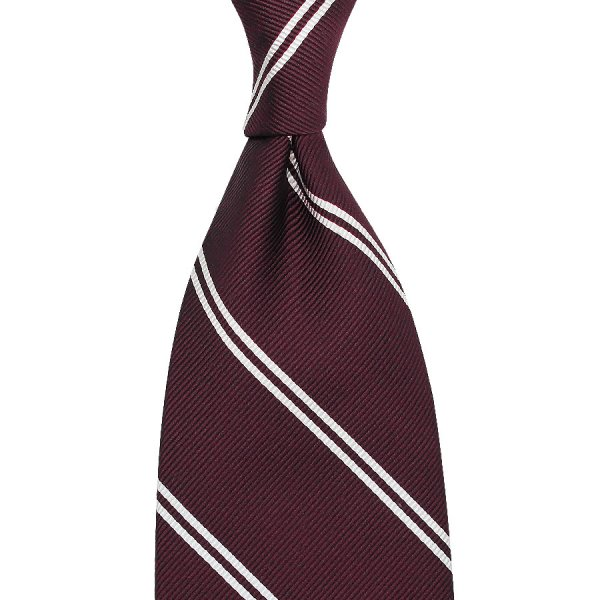 Double Bar Repp Stripe Silk Tie - Burgundy - Handrolled