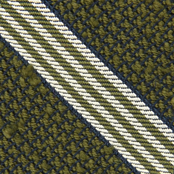 Striped Shantung Grenadine Bespoke Tie - Moss Green
