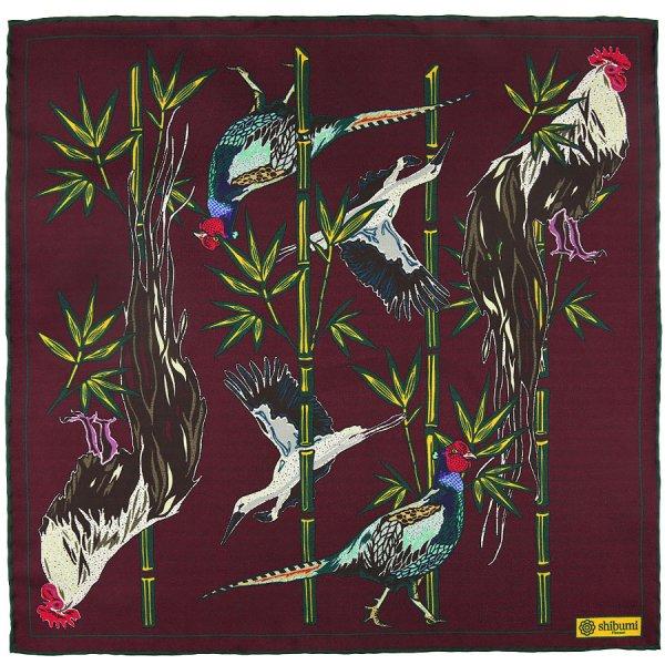 Animal Motif Silk Pocket Square - Burgundy - 40x40cm