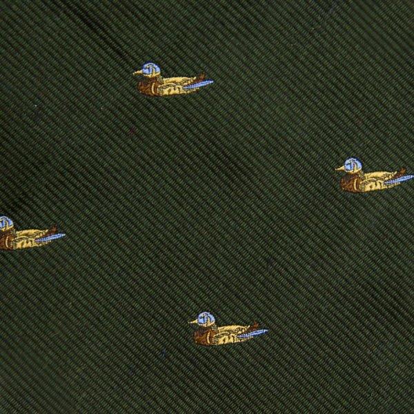 Vintage Bespoke Animal Crest Silk Tie - Forest