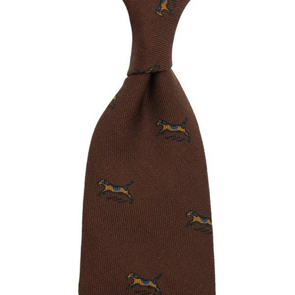 Dog Printed Wool Challis Tie - Brown - Hand-Rolled