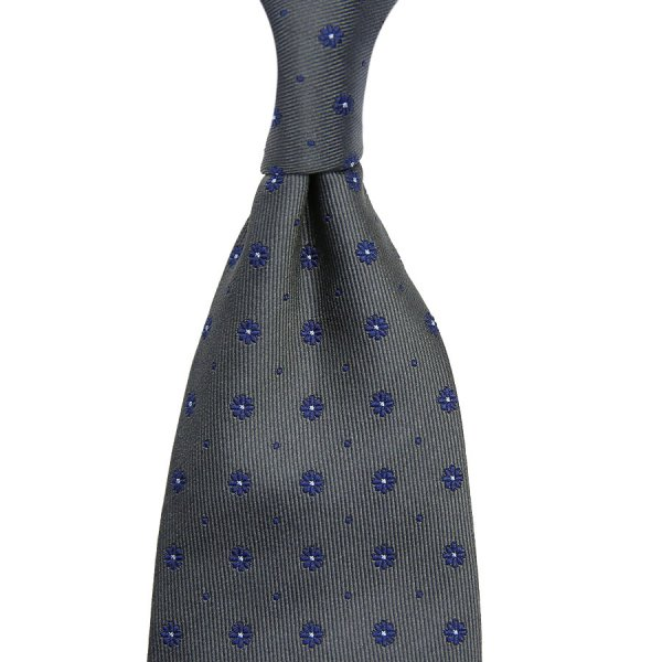Floral Jacquard Silk Tie - Grey - Hand-Rolled