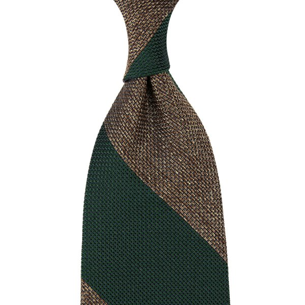 Block Stripe Grenadine / Garza Piccola Silk Tie - Forest / Beige Mottled