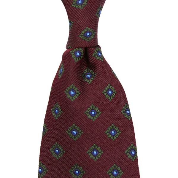 Floral Jacquard Tie - Wine - Handrolled