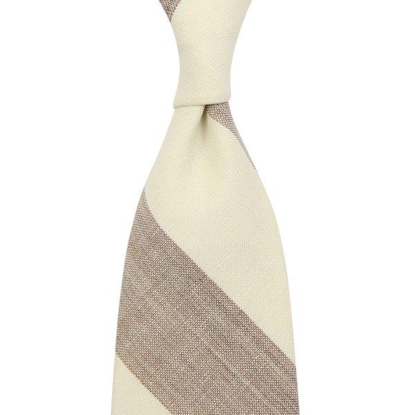 Vintage Fox Brothers Block Stripe Wool Tie - Ivory / Beige