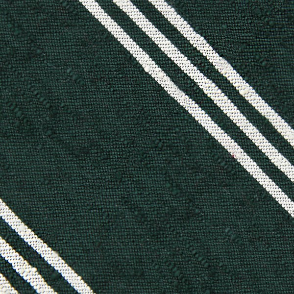 Triple Stripe Shantung Bespoke Tie - Forest Green