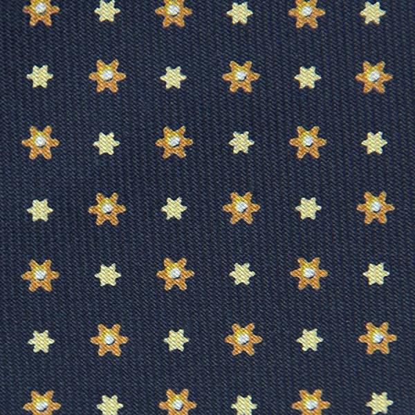 Floral Printed Bespoke Silk Tie - Navy V