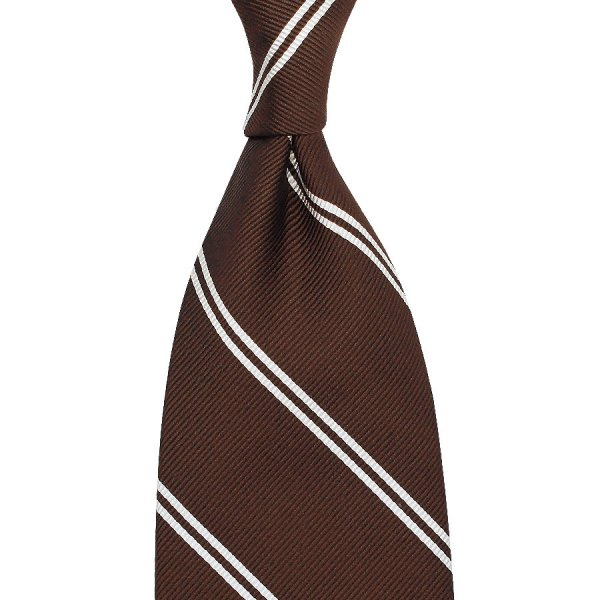 Double Bar Repp Stripe Silk Tie - Brown - Hand-Rolled