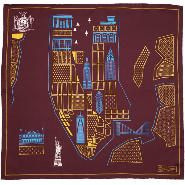New York Map Silk Pocket Square - Burgundy - 40x40cm
