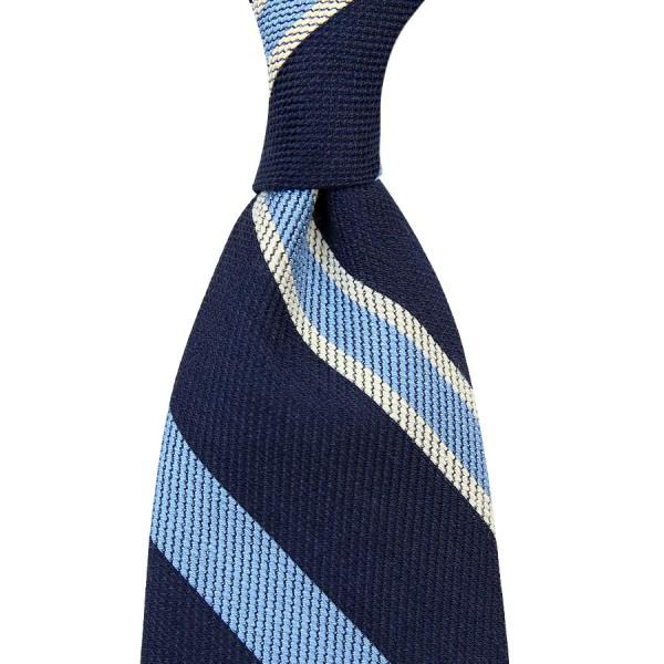 Regimental Striped Cotton / Silk Tie - Navy - Handrolled