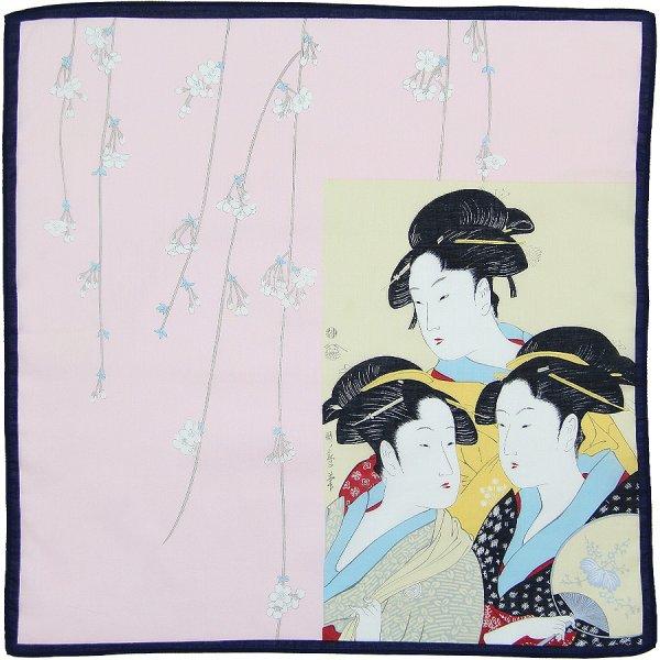 Ukiyo-e Cotton Handkerchief - Pink