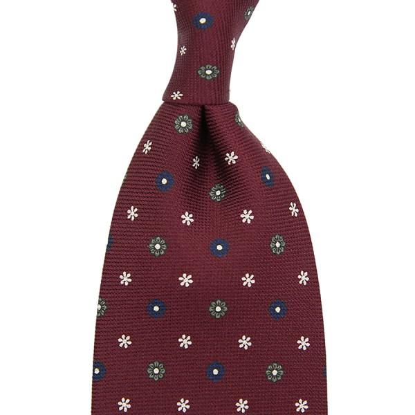 Panama Printed Silk Tie - Wine - Hand-Rolled