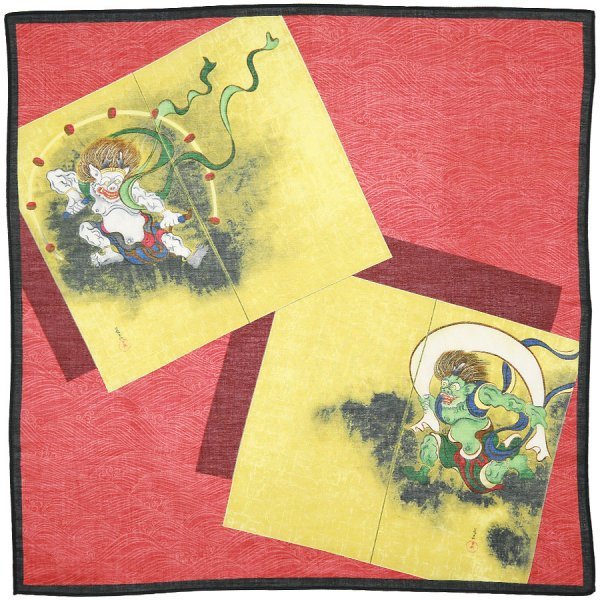 Ukiyo-e Cotton Handkerchief - Red / Brown