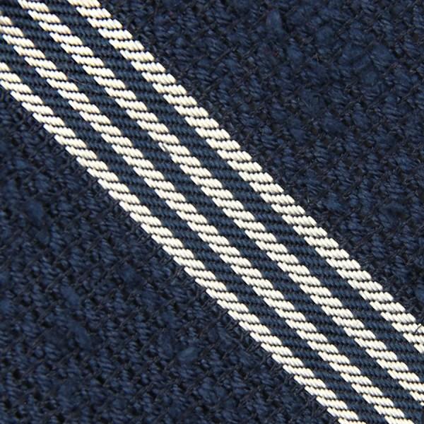 Striped Shantung Grenadine Bespoke Tie - Navy