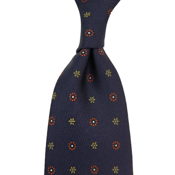 7-Fold 50oz Floral Printed Silk Tie - Navy - Hand-Rolled