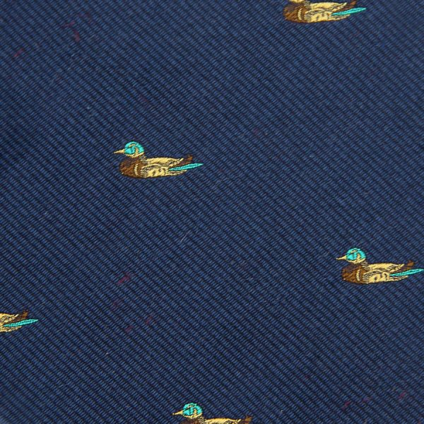 Vintage Bespoke Animal Crest Silk Tie - Navy