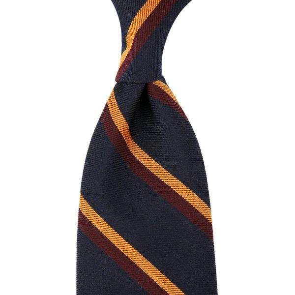 Mogador Striped Silk / Cotton Tie - Navy / Burgundy / Orange