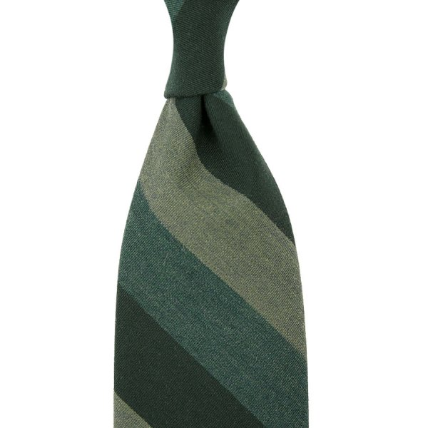 Mogador Block Stripe Silk / Cotton Tie - Green - Hand-Rolled