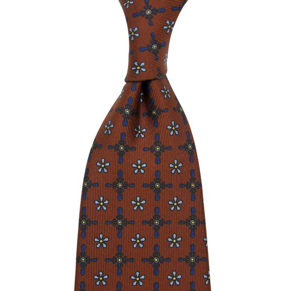 Floral Printed Silk Tie - Caramel - Hand-Rolled