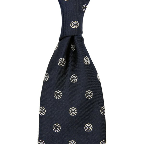 Shibumi-Flower Jacquard Silk Tie - Navy - Hand-Rolled