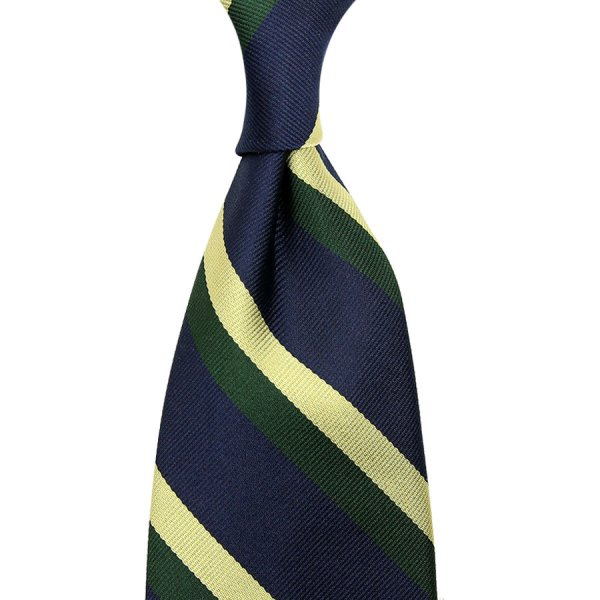 Repp Stripe Silk Tie - Navy / Forest / Yellow - Hand-Rolled