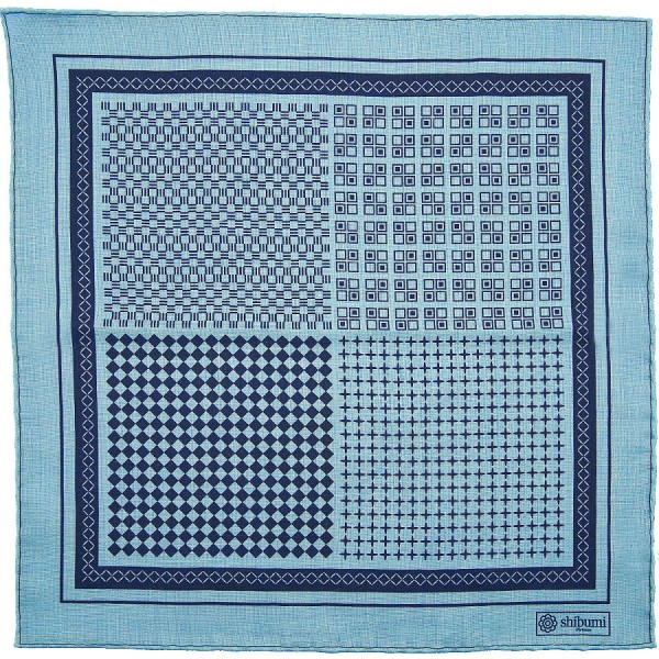 Geometrical Wool / Silk Pocket Square - Light Blue