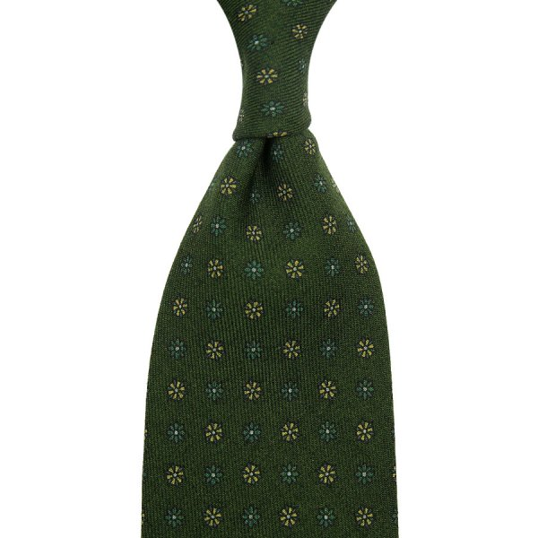 Floral Printed Wool Challis Tie - Olive - Hand-Rolled