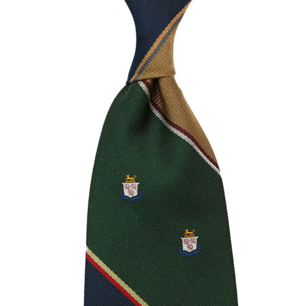 Crest Repp Silk Tie - Navy / Forest / Gold - Hand-Rolled