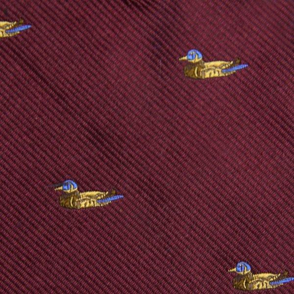 Vintage Bespoke Animal Crest Silk Tie - Burgundy