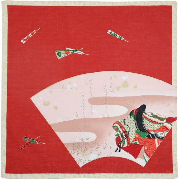 Ukiyo-e Motif Cotton Handkerchief - Red