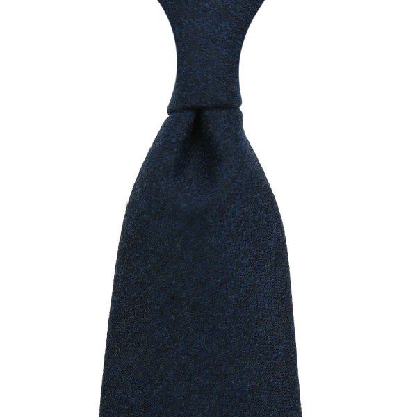 Plain Wool / Silk Boucle Tie - Navy - Hand-Rolled
