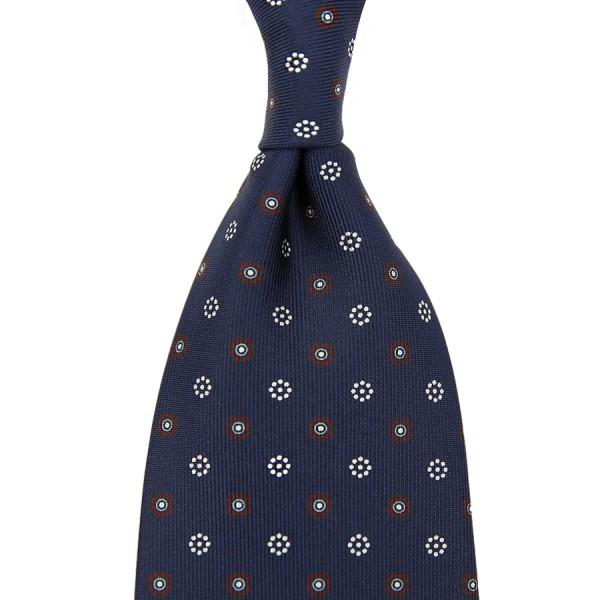 Floral Printed Silk Tie - Navy IX - Handrolled