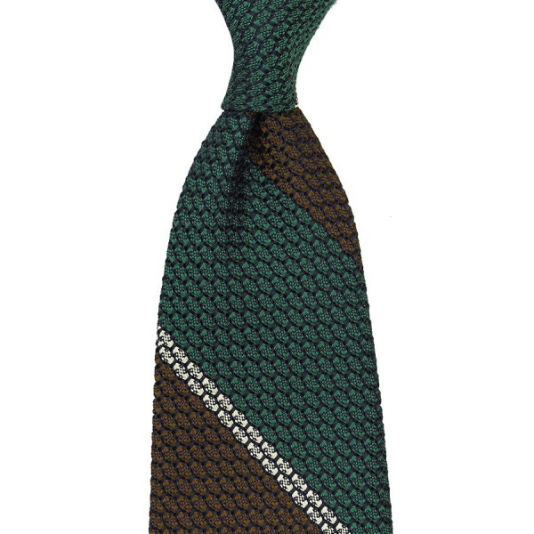 Striped Grenadine / Garza Grossa Silk Tie - Forest / Brown / White