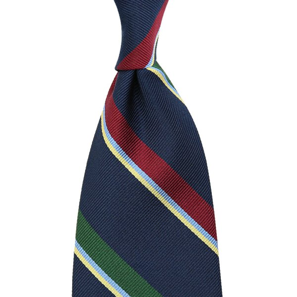 Repp Stripe Silk Tie - Navy - Handrolled