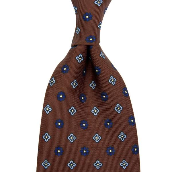 Floral Printed Silk Tie - Brown III - Handrolled