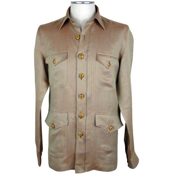 Irish Linen Safari Jacket - Beige Solaro