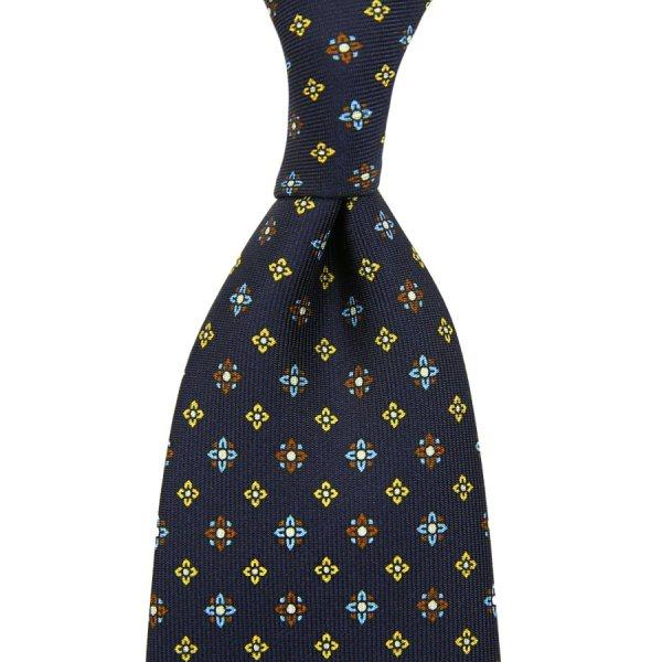 Floral Printed Silk Tie - Navy II - Self-Tipped