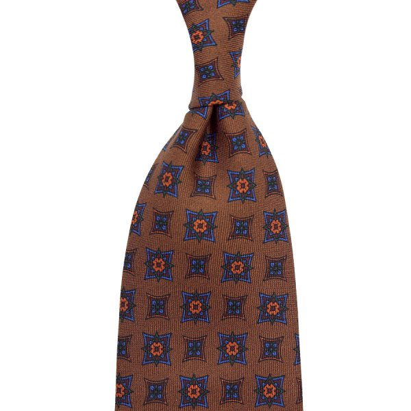 Ancient Madder Silk Tie - Oatmeal - Hand-Rolled