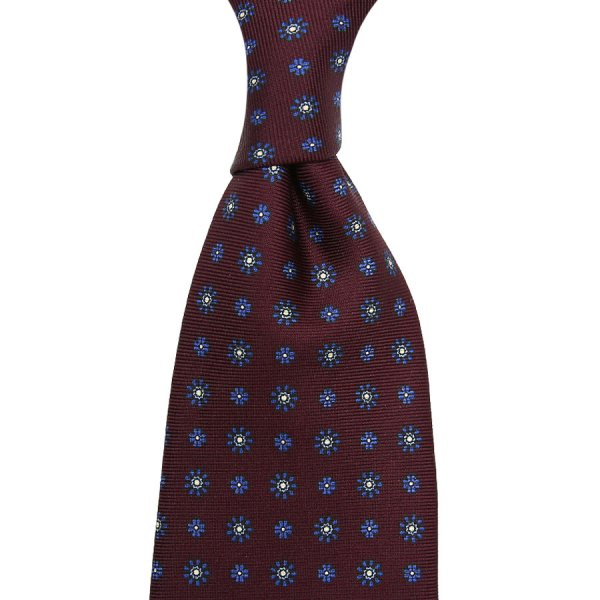 Floral Printed Silk Tie - Wine - Hand-Rolled