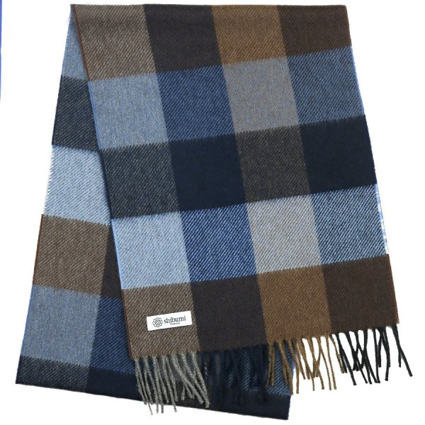 Plaid Cashmere Scarf - Blue / Beige