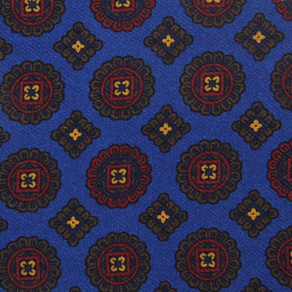 Vintage Geometrical Printed Silk Bespoke Tie - Madder Blue