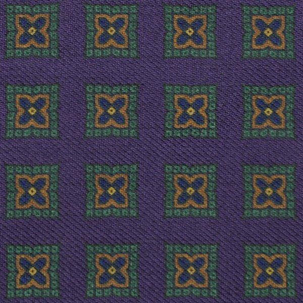 Floral Printed Wool Bespoke Tie - Purple