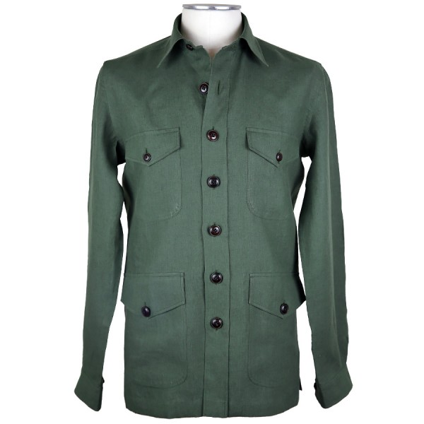 Irish Linen Safari Jacket - Olive